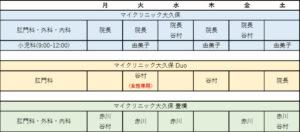 マイクリニック大久保グループ診療体制スケジュール表
